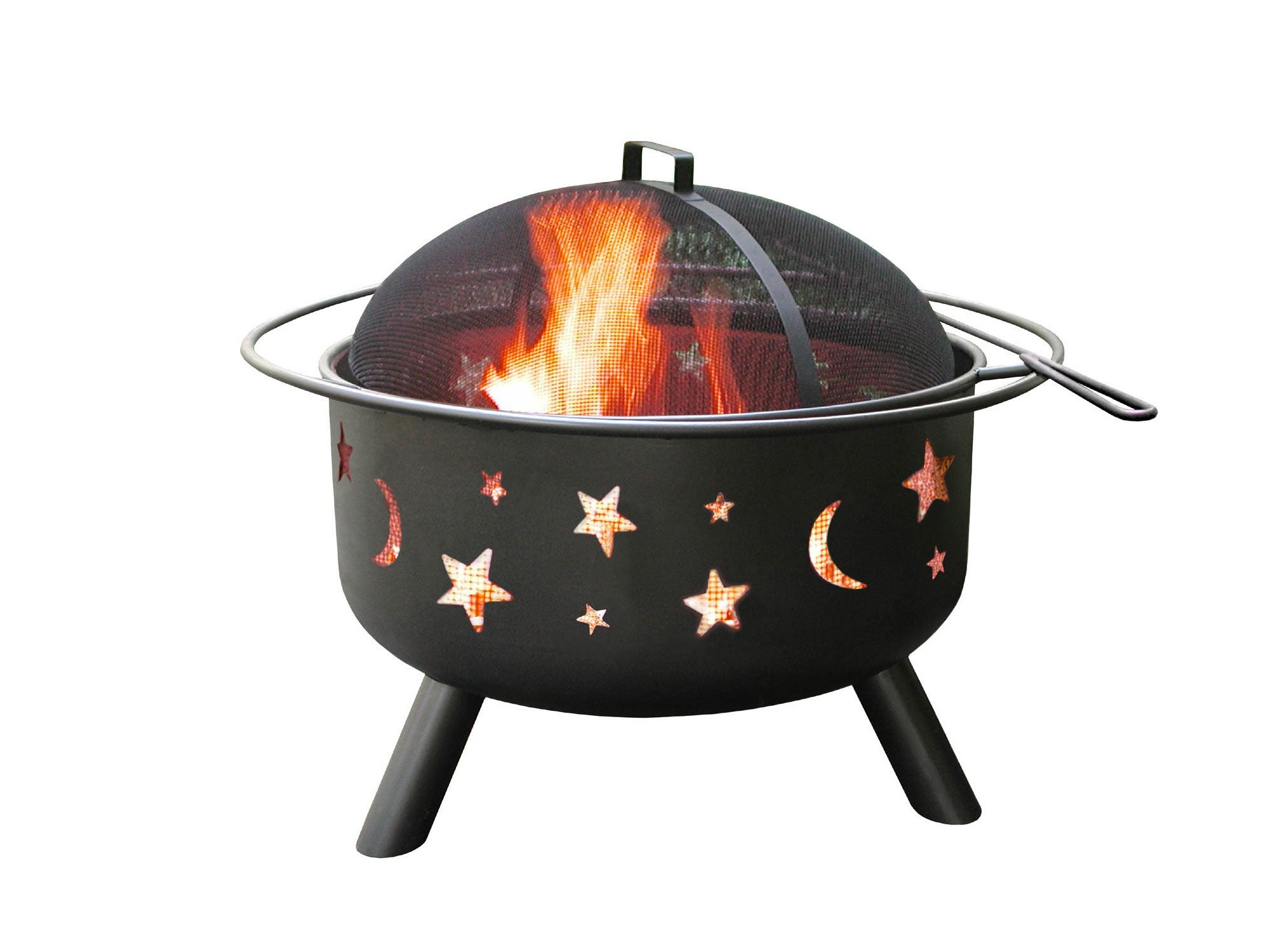 Fire pit with moon and star cutouts