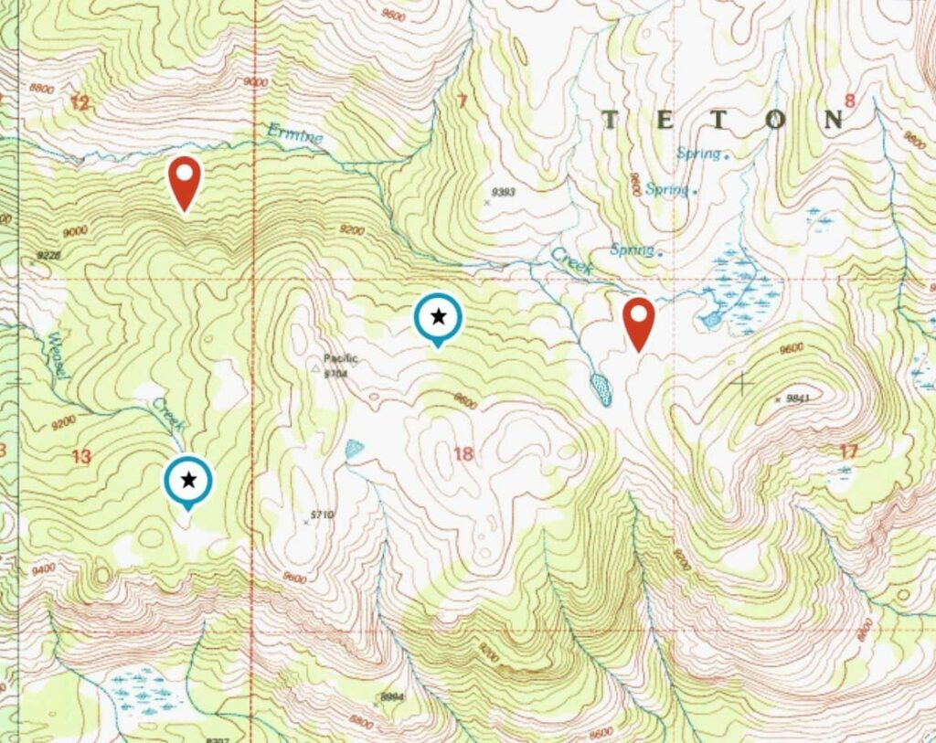 north facing slopes on a map