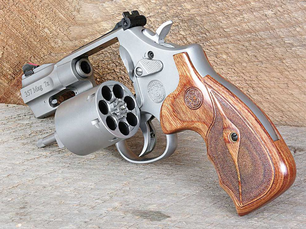 This seven shot revolver gives you an extra bullet of defense.