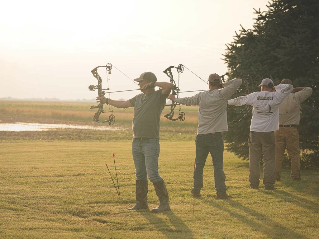 bowhunters aiming compound bows