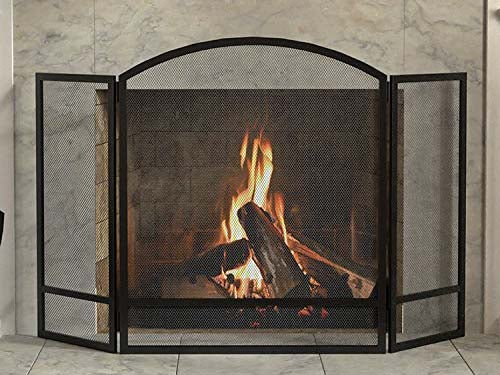 Panacea Products 3-Panel Arch Screen with Double Bar for Fireplace, 29 Inch