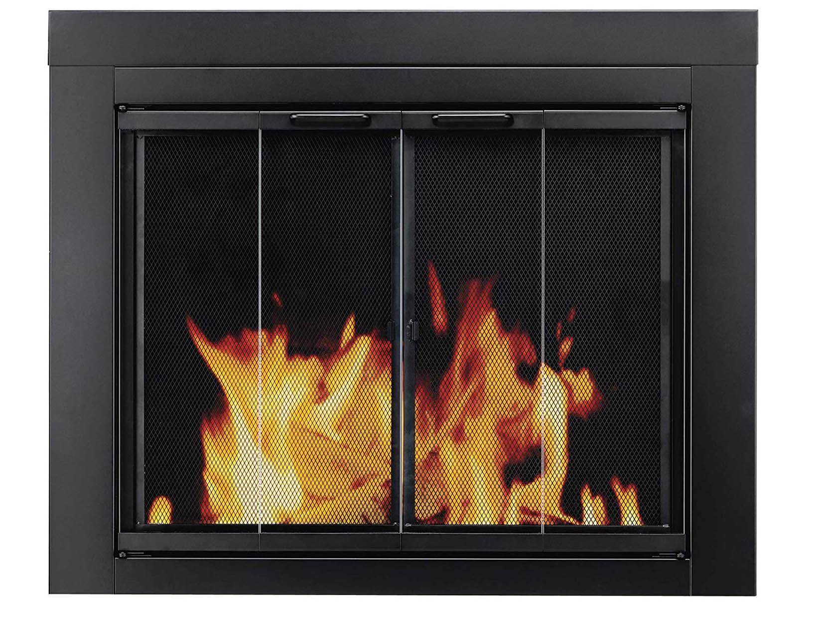 Pleasant Hearth Ascot Fireplace Glass Door, Black, Small