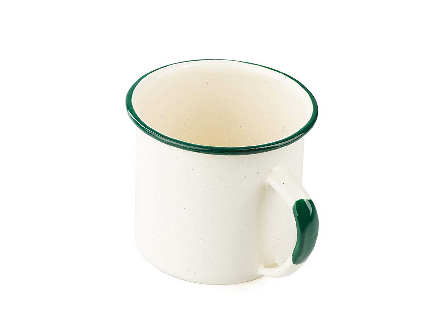 Enamelware mug with green rim and handle