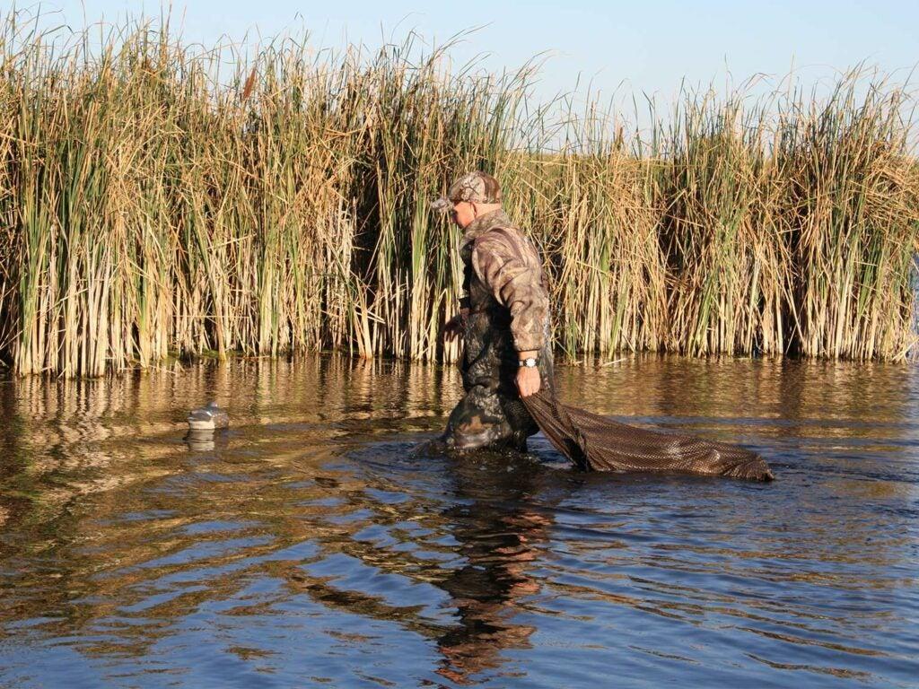 hunter wading through a pond