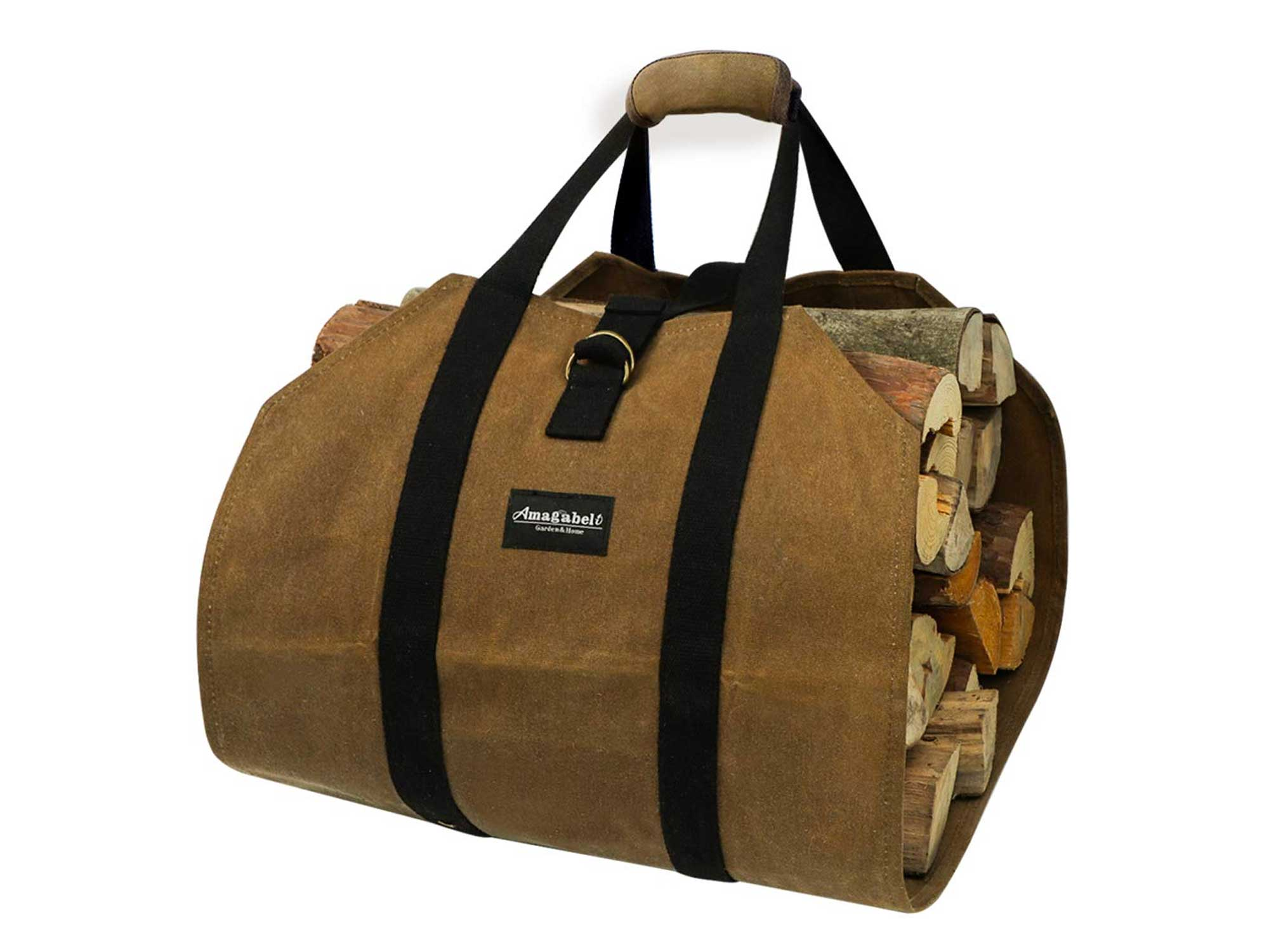 waxed canvas firewood carrier bag