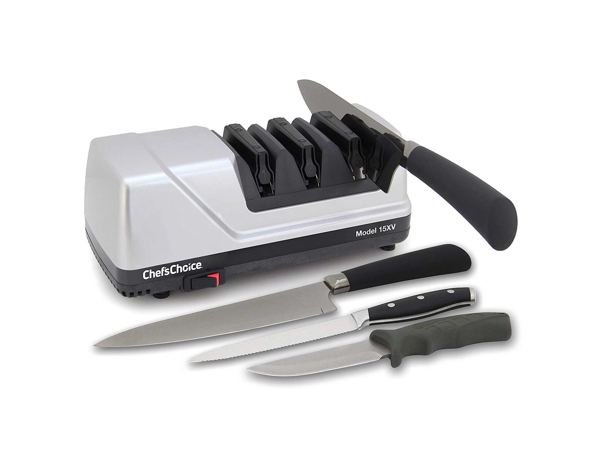 A three-stage sharpener will give you the most control while repairing the edge of your knives.