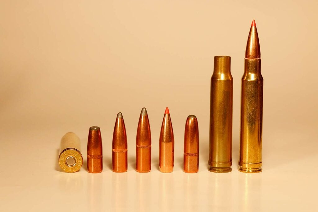 a lineup of .338 winchester magnum bullets