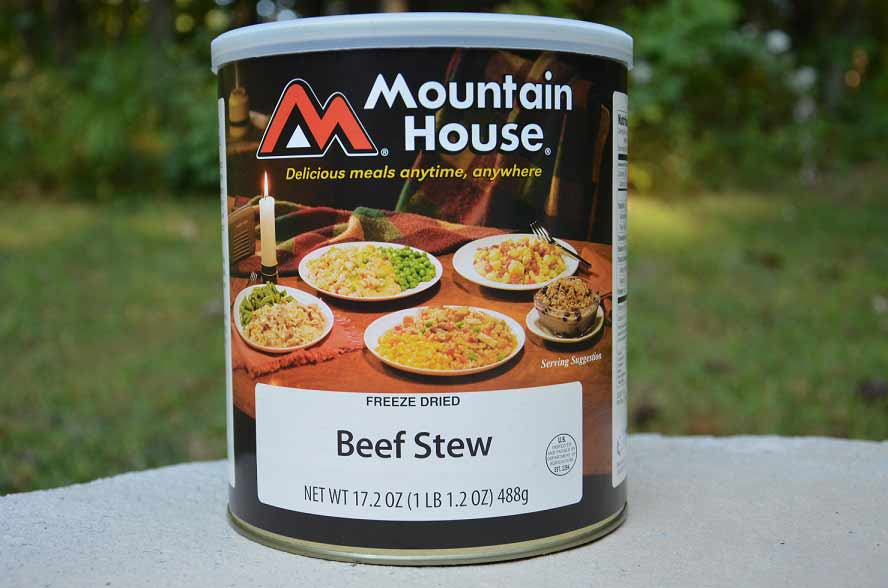 freeze dried beef stew food can