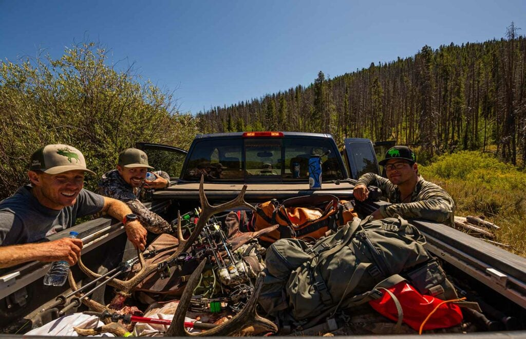hunting truck loaded with elk