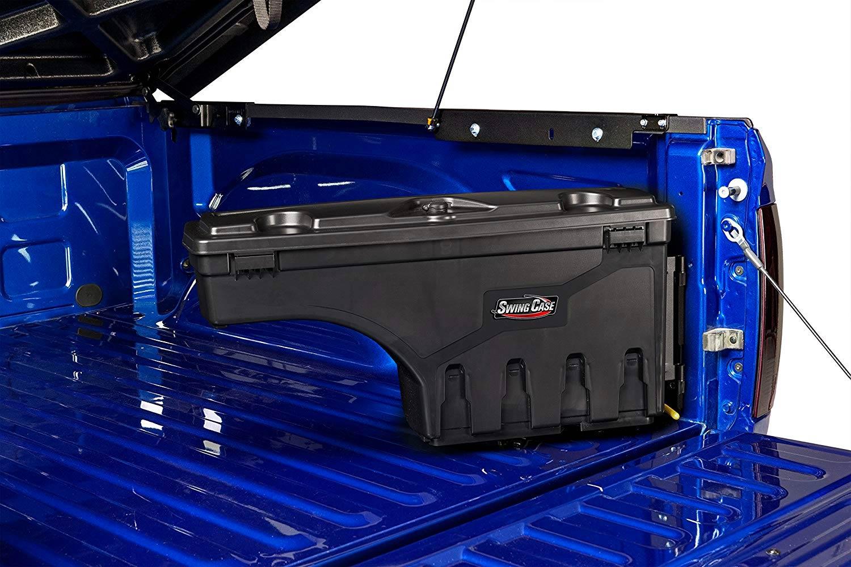 Swing case side-mounted storage box
