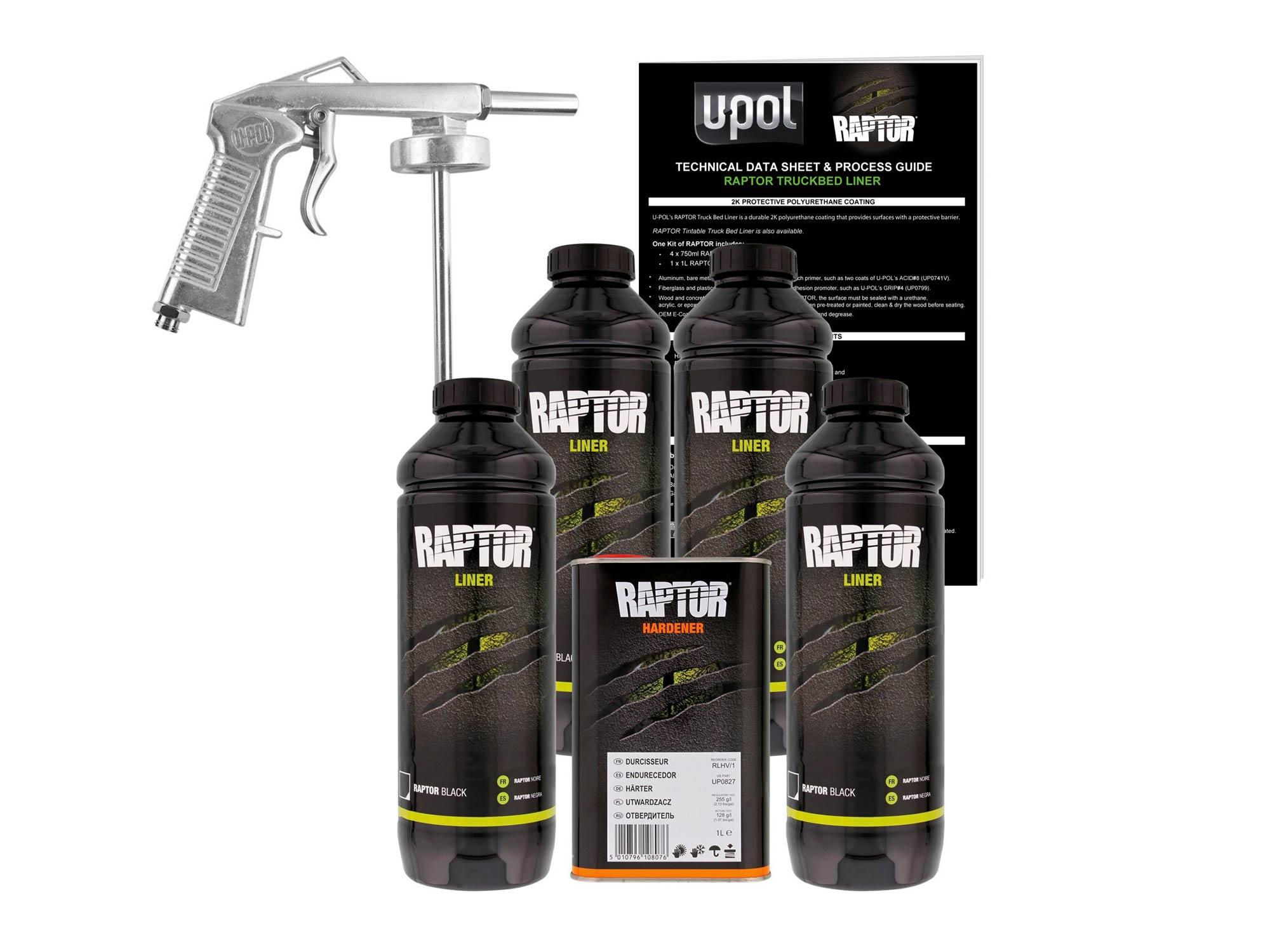 U-Pol Raptor Black Urethane Spray-On Truck Bed Liner Kit