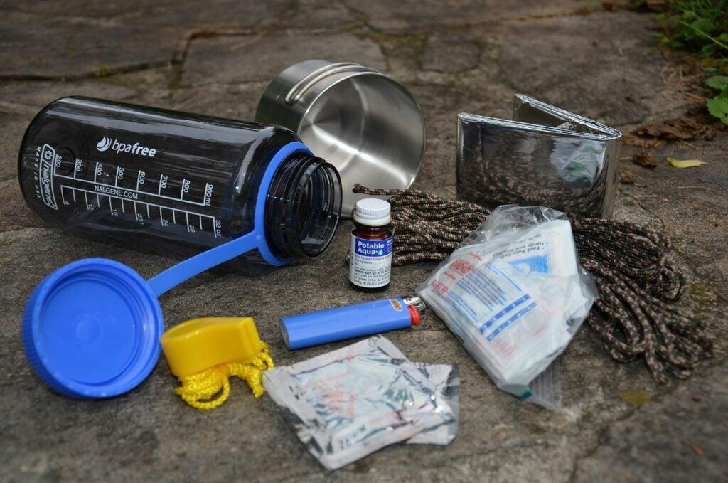 A water bottle survival kit.