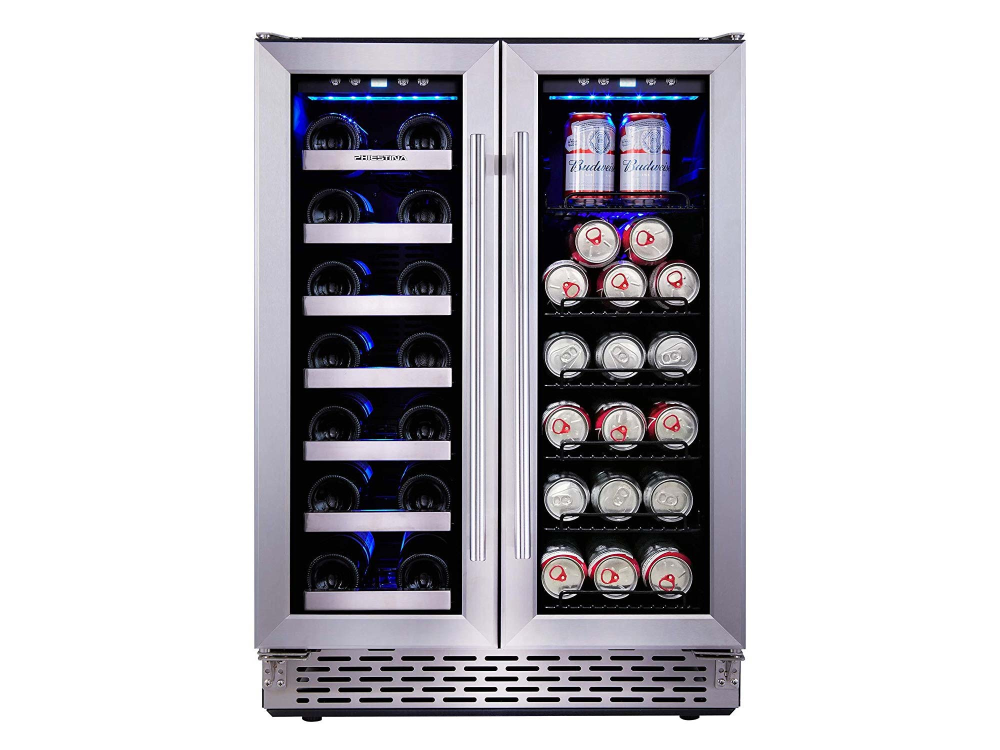 Phiestina 24 Inch Built In Dual Zone Wine and Beverage Cooler