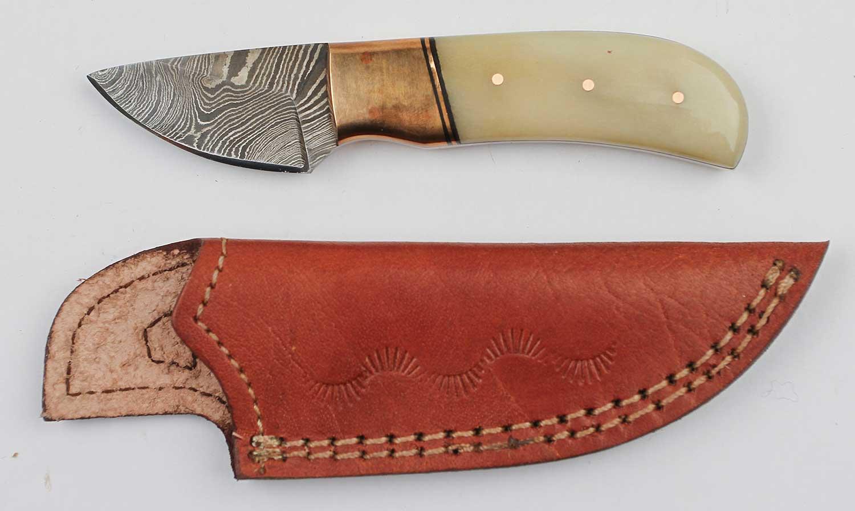 Damascus bone-handled skinners