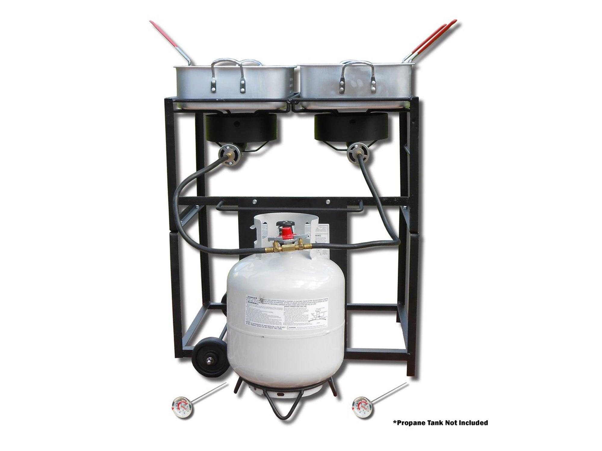 King Kooker 30-Inch Dual-Burner Outdoor Propane Frying Cart