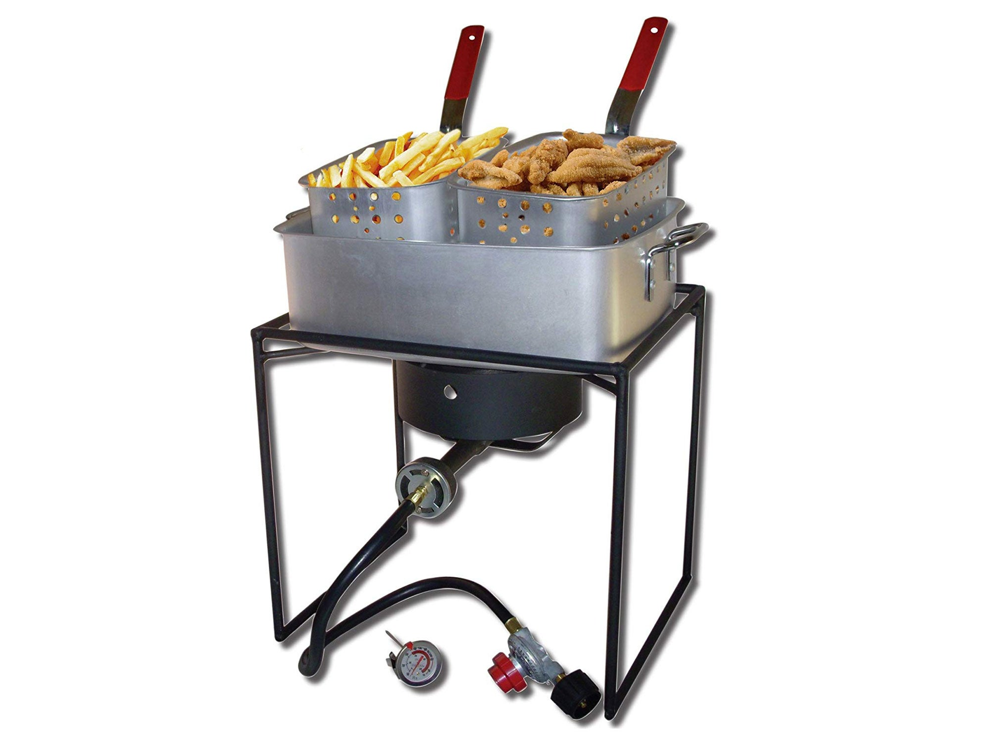 King Kooker 16-Inch Propane Outdoor Cooker with Aluminum Pan and 2 Frying Baskets