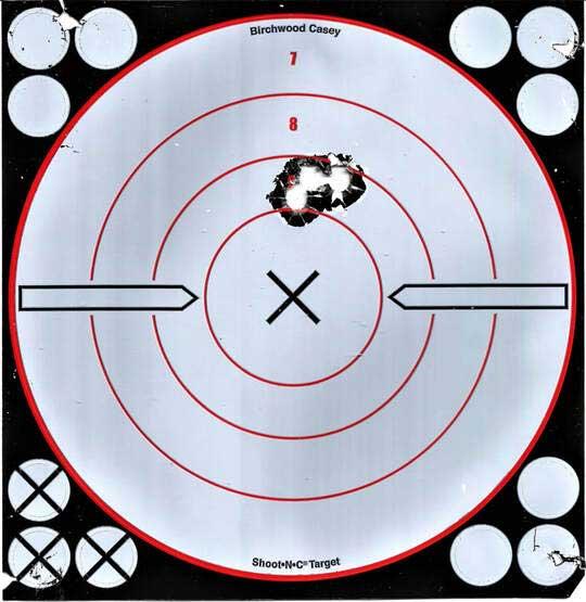three shot group target