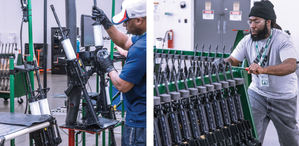 An operator displays a Bushmaster barrel assembly (left); the production floor of the Huntsville plant