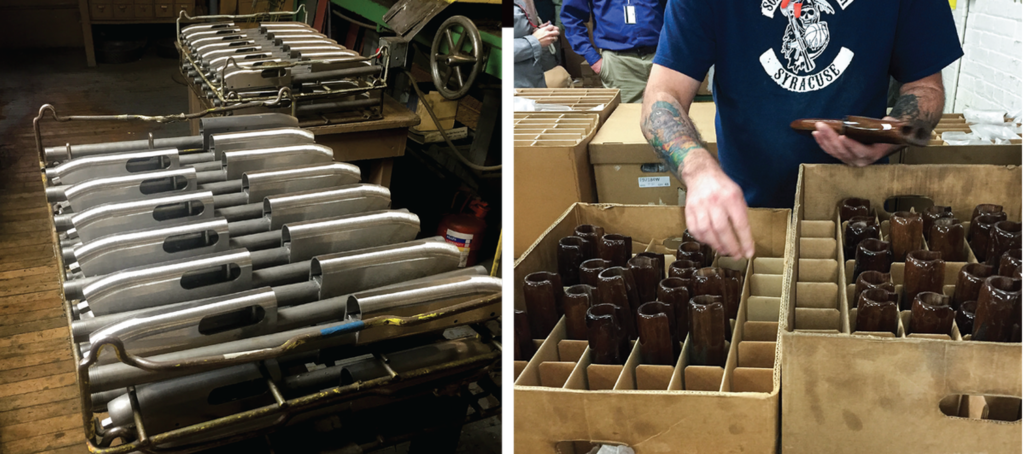 Model 870 shotgun receivers wait to be hand-buffed (left); an Ilion employee matches stock and forend wood for walnut-stocked 870s