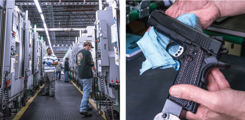 Workers calibrate machines (left); a Remington R-1911