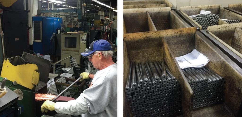 Polishing a VersaMax shotgun barrel (left); bins of Marlin .30 barrels await finish work