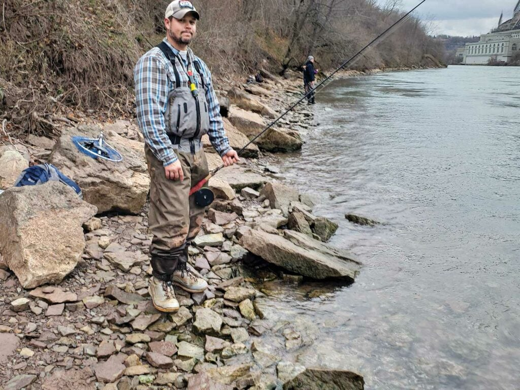 angler fishing for trout in the lower niagra river