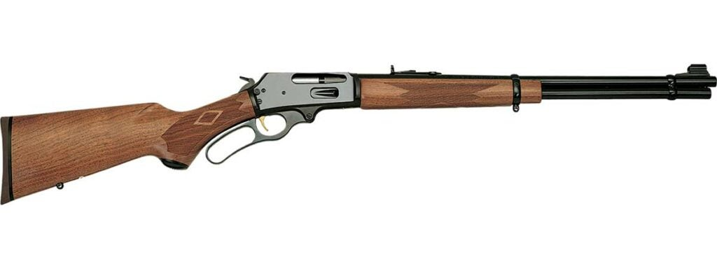 lever-action rifle on a white background