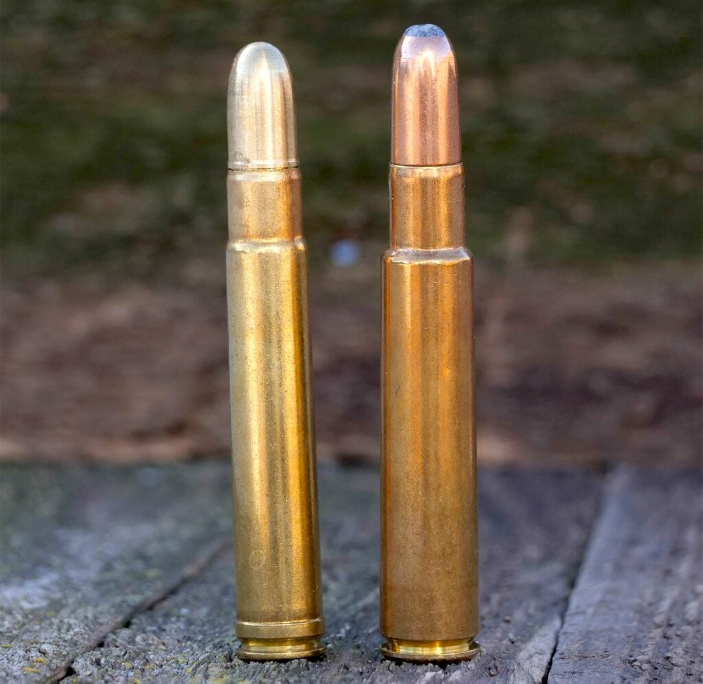 .426 Rem. Mag. and 416 rigby ammo on a wooden table