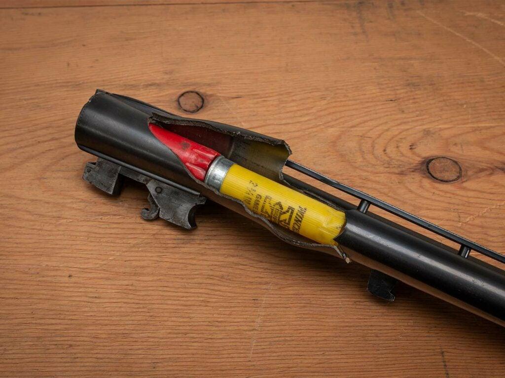 an exploded shotgun barrel