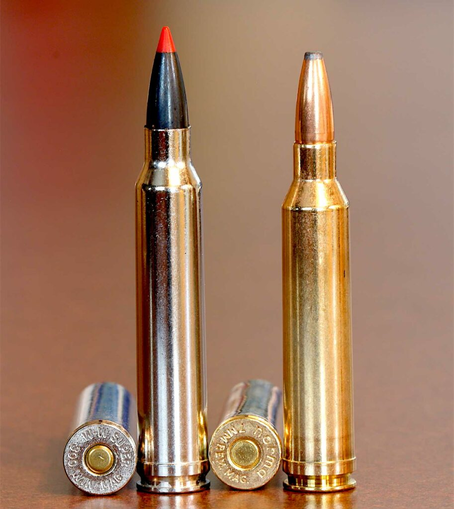 two bullets on a wooden table top