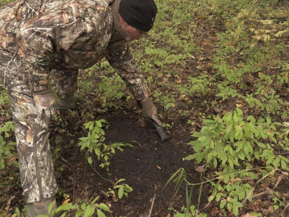 a hunter creating a mock scrape