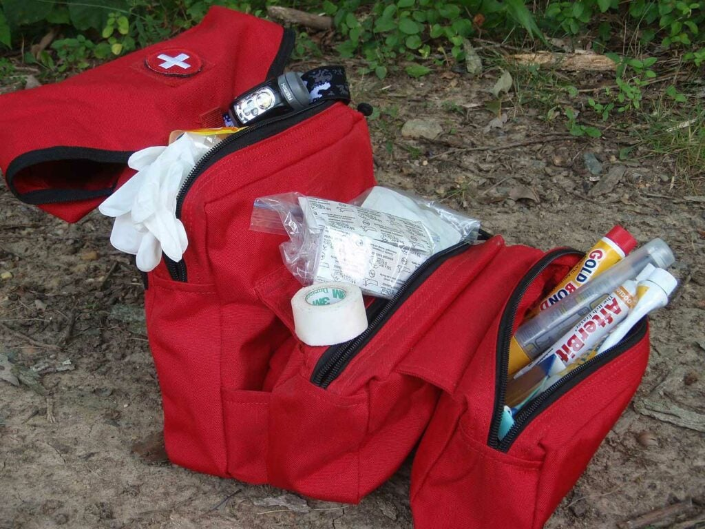 a red medical kit for emergencies