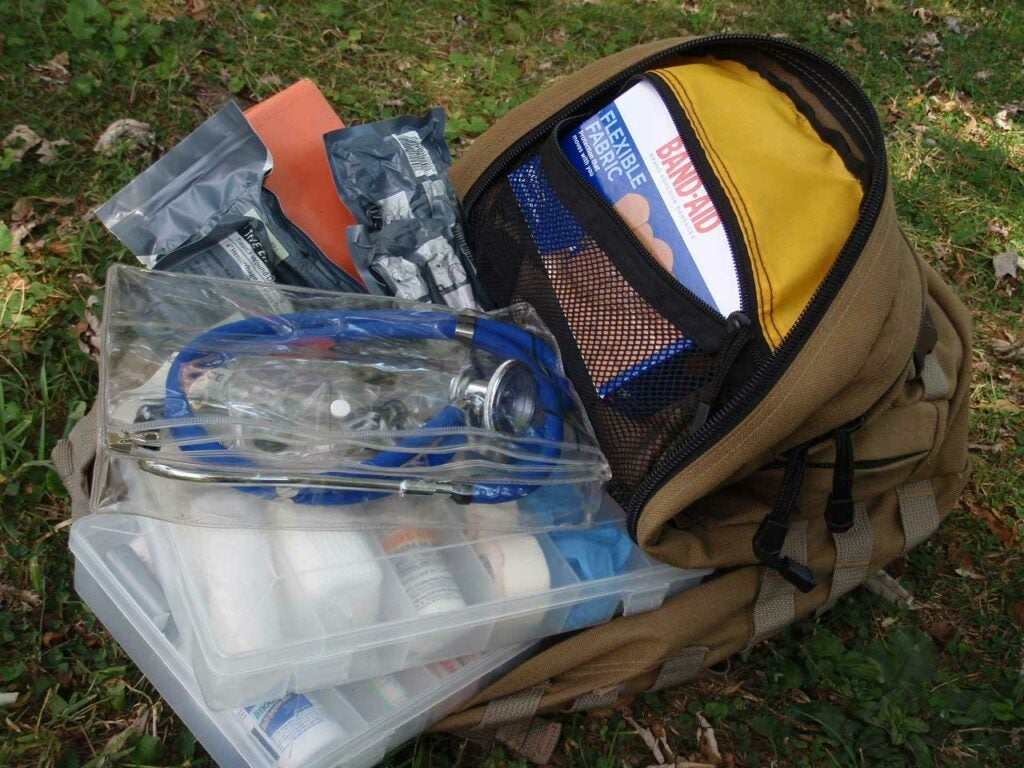a backpack full of medical supplies
