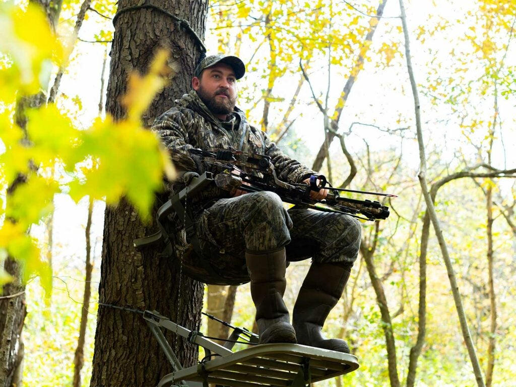 hunter sitting in a tree stand