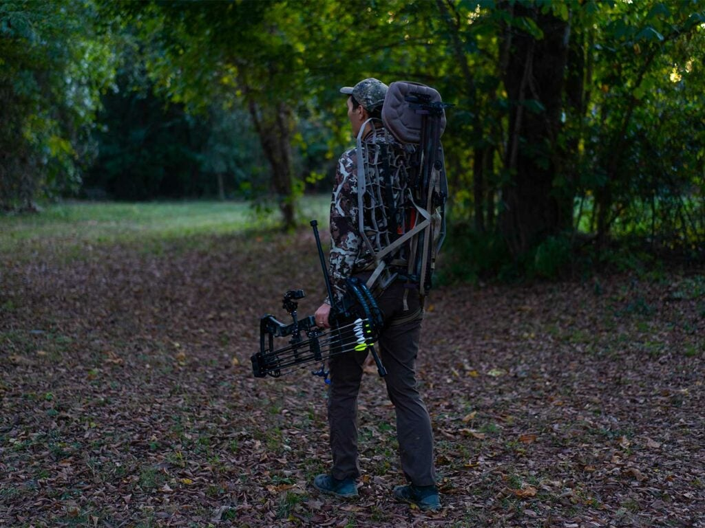 hunter carrying a mobile treestand through the woods.