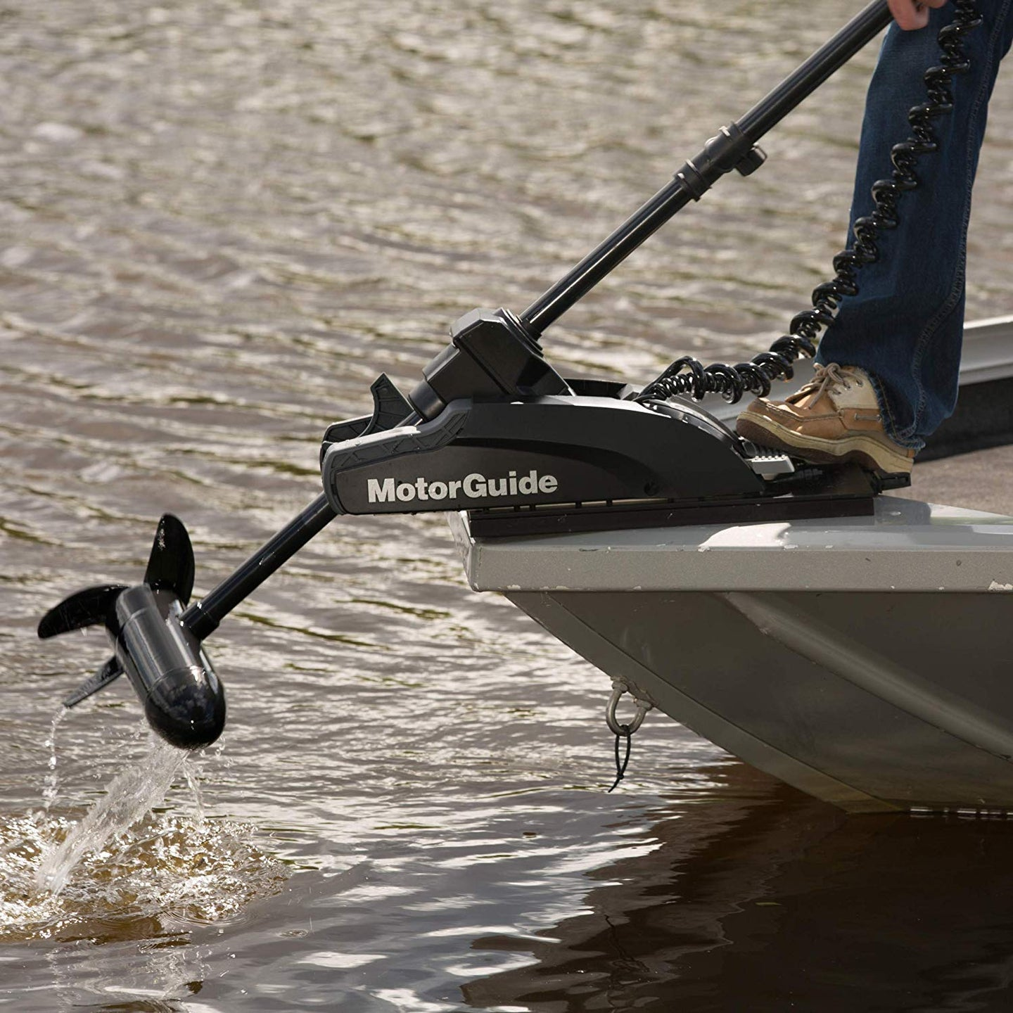 Trolling motor being pulled out of the water