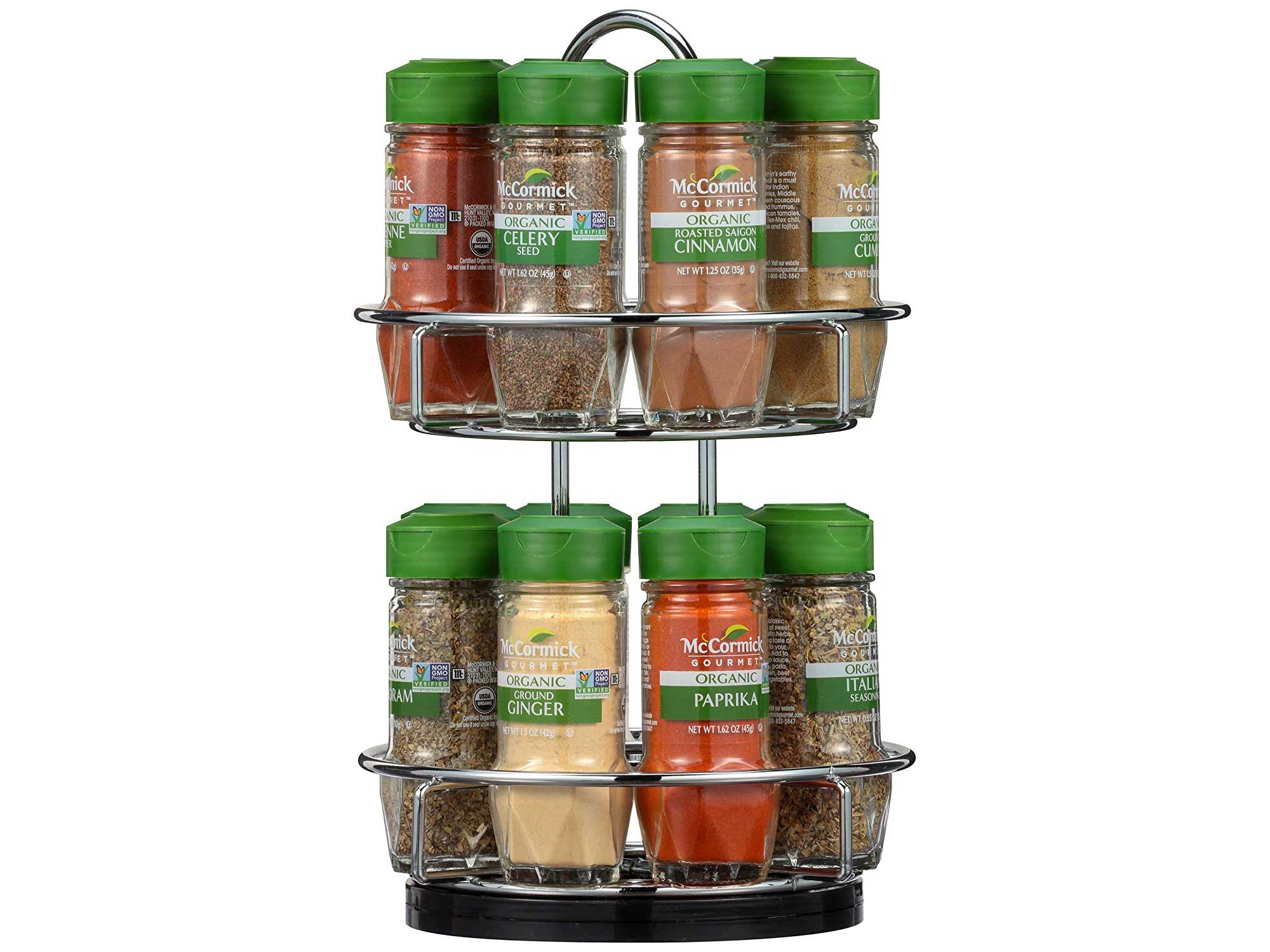 McCormick Gourmet Two Tier Chrome 16 Piece Organic Spice Rack Organizer with Spices Included, 15.41 oz