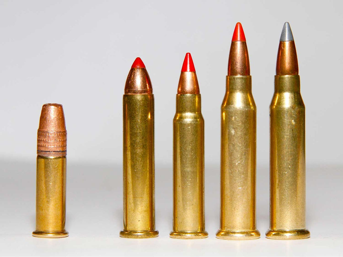 A lineup of .22 and .17 rimfire ammo bullets