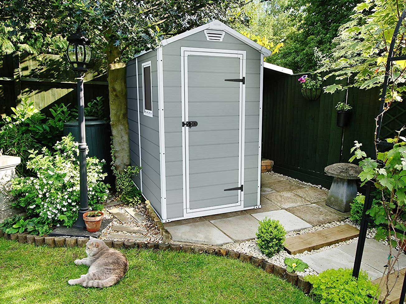 Storage shed in backyard.
