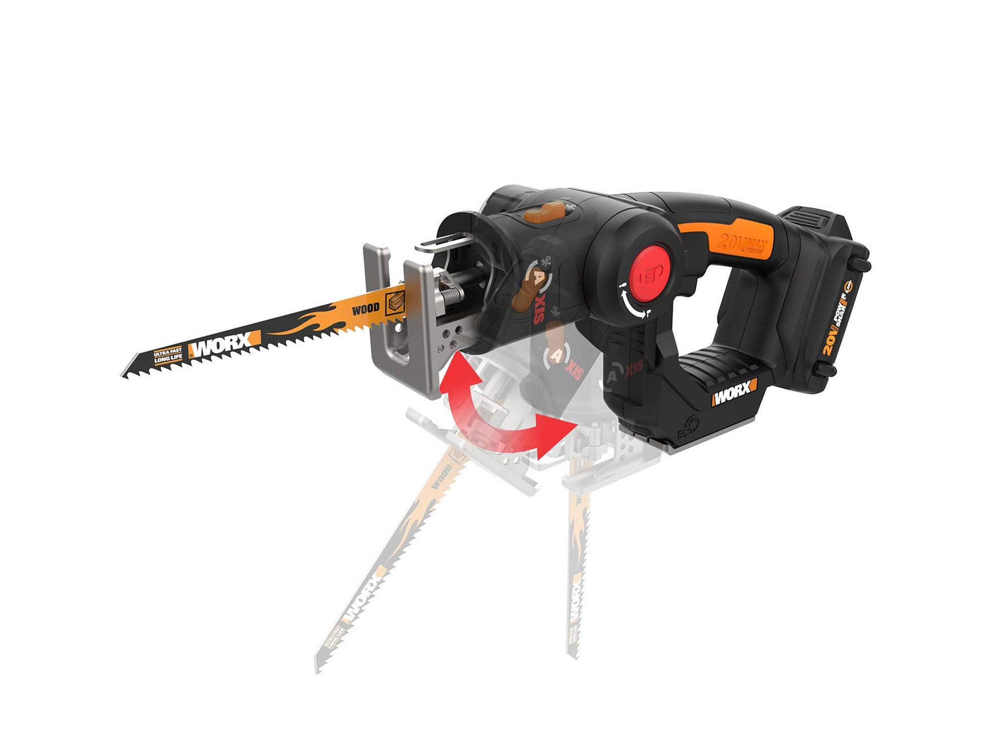 WORX 20V AXIS 2-in-1 Reciprocating Saw and Jigsaw with Orbital Mode