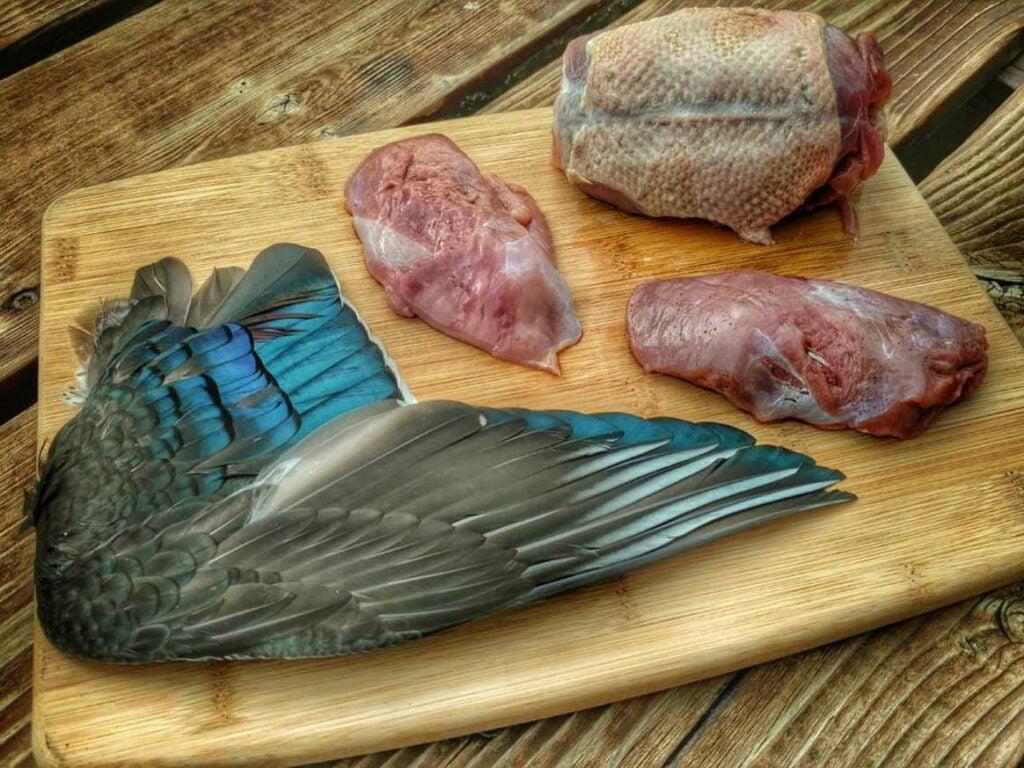 butchered wild duck on a cutting board
