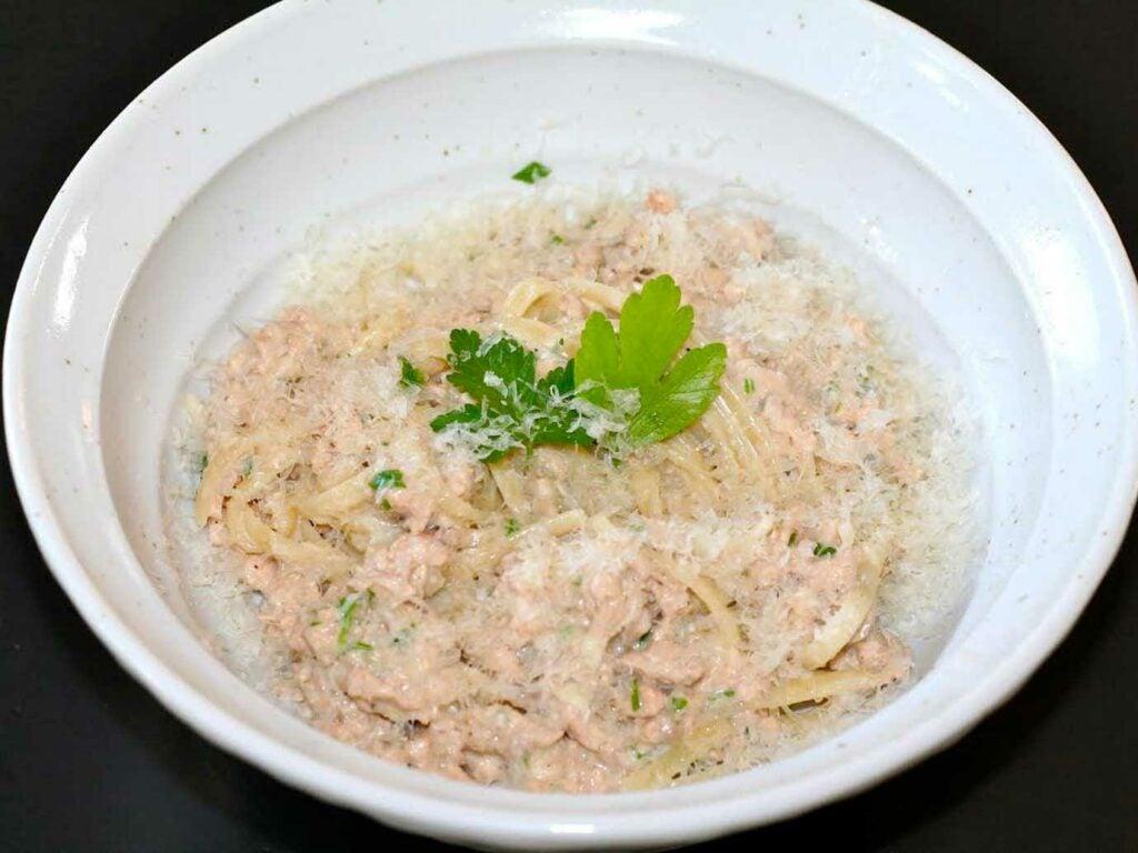 A bowl of Salmon linguini