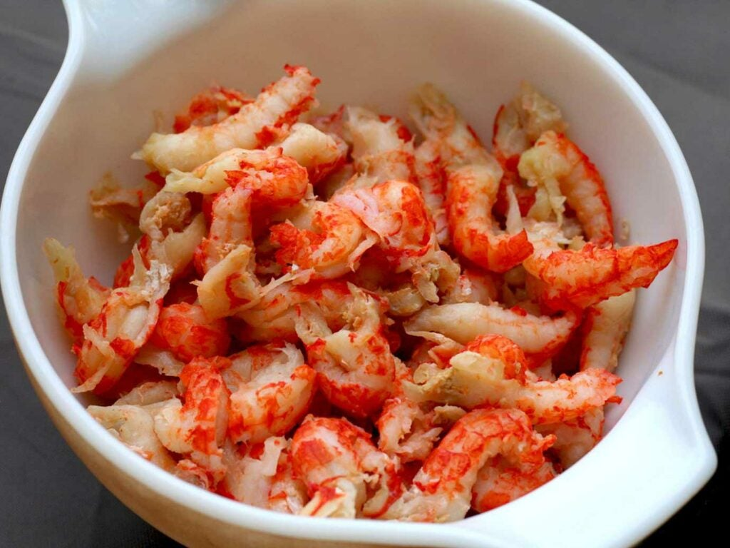 Peeled and boiled crayfish meat.