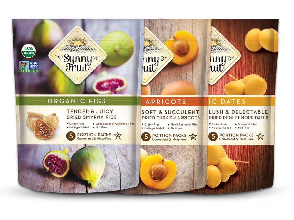 bags of organic dried fruits