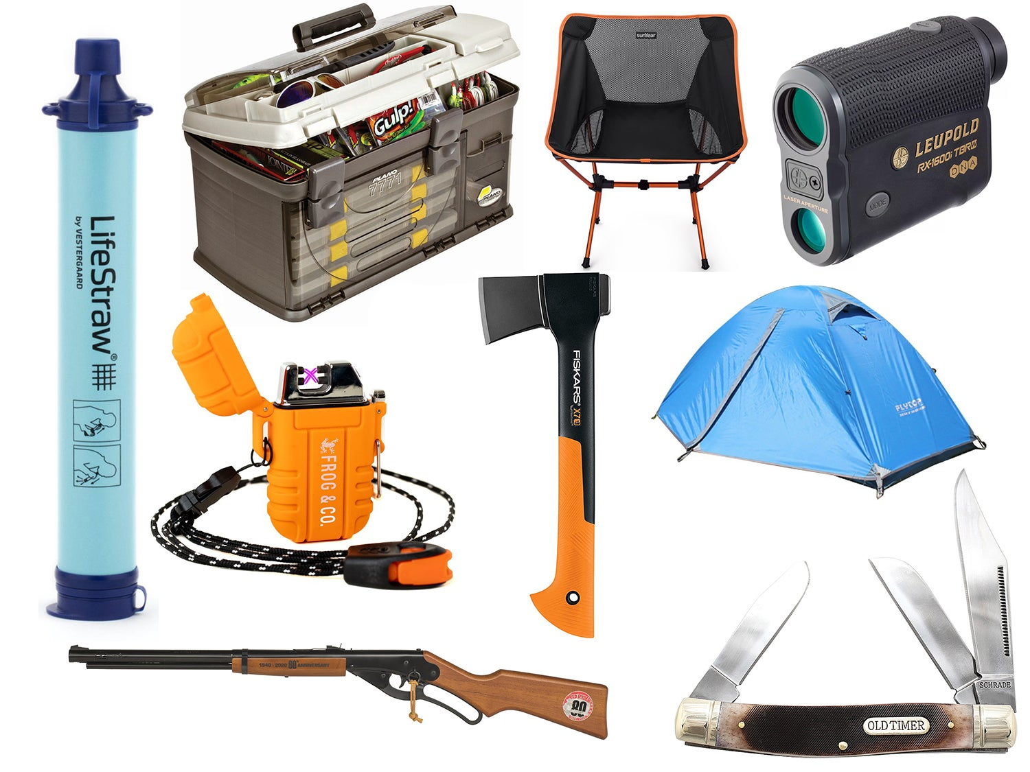 collage of hunting and fishing gifts