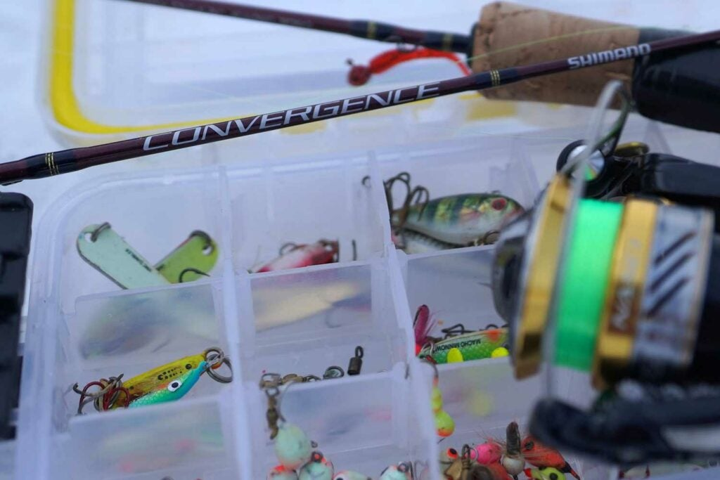 Shallow water panfish lures in a tackle box.