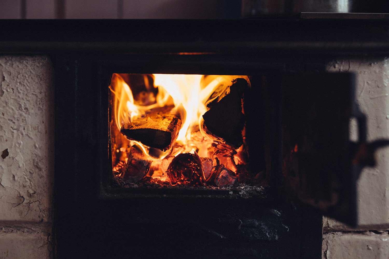 a wood-burning stove