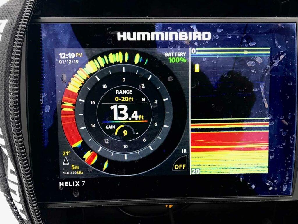 Sonar panel on humminbird fish monitor.