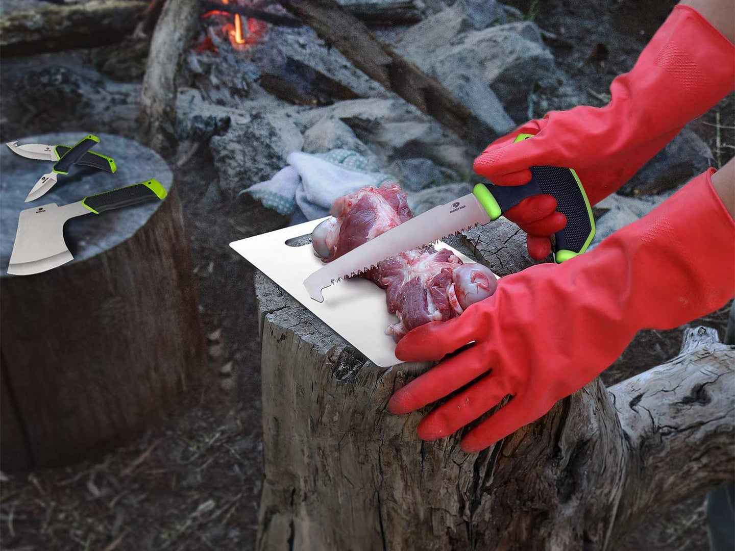 cutting game meat at a camp