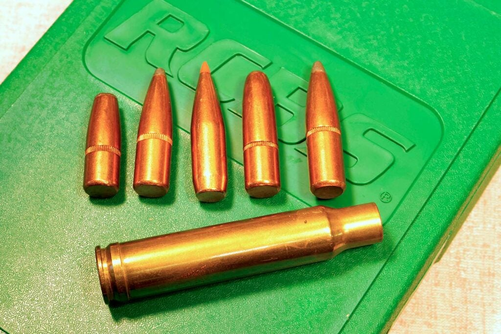 A lineup of ammos used in reloading.